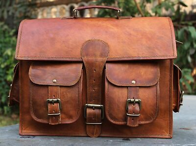 1 X Side Brown Leather Motorcycle Side Pouch Saddlebags Saddle Panniers 1 Bag • 39.99£