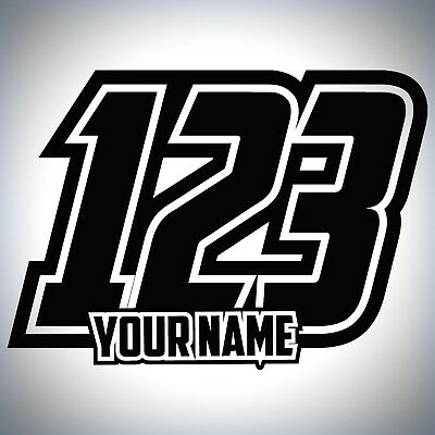 3 X Custom Race Numbers And Name Stickers Motocross Kart Decals MX Dirt Bike • 7.99£