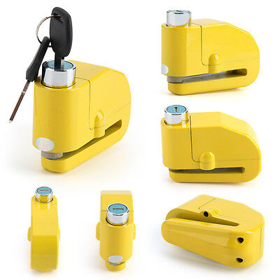 Yellow Anti Theft Motorcycle Motorbike Bike Disc Lock Alarm + Keys Security • 7.99£