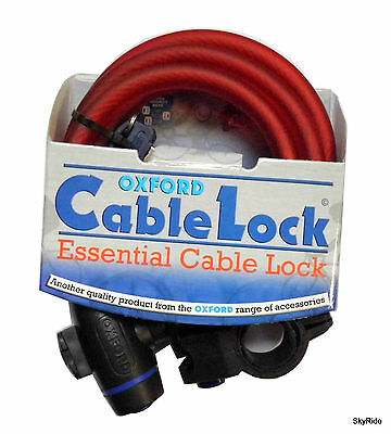 OXFORD RED Spiral Mountain Bike Cycle Bicycle Safety CABLE LOCK - 1.8m X 12mm • 14.79£