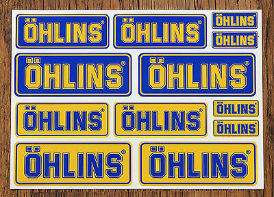 OHLINS STICKER SETS - SHEET OF 12 STICKERS - DECALS - Motorcycling  • 2.75£