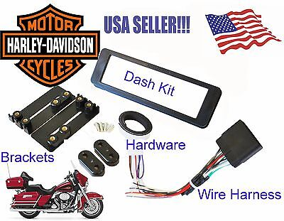 Single ISO Din Radio CD Install Mount Dash Kit Wire Harness Fits Harley Davidson • 21.68£