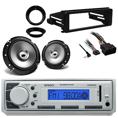 98-2013 Harley FLHT FLHX Dash Kit,AM FM Stereo, Marine 6.5 Speakers And Adapters • 77.60£