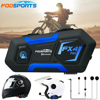 FX4 1000M Bluetooth Motorcycle Helmet Intercom Headset 4 Way Communication Radio • 47.83£