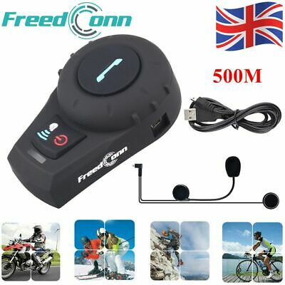 500M Bluetooth Motorcycle Intercom Headset Helmet Interphone 2 Way Communication • 40.99£