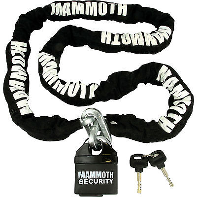 MAMMOTH MOTOCROSS MOTORCYCLE SCOOTER SECURITY PADLOCK LOCK AND & CHAIN 1.8m • 28.99£