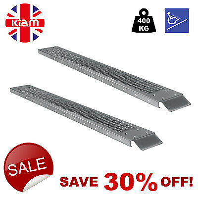 Loading Ramps SET OF TWO Heavy Duty  WHEEL CHAIR SCOOTER RAMPS 1.85m 400kg • 59.99£
