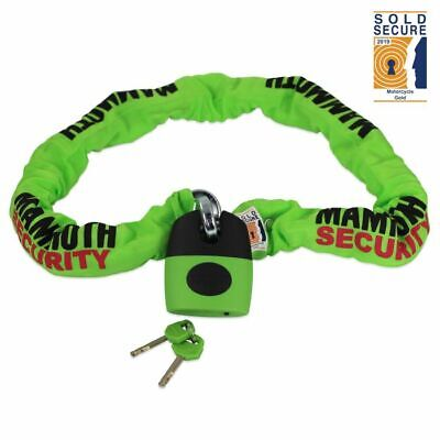Mammoth 1.2m Square Chain + Lock Thatcham Approved Motorcycle Cat3 Security • 54.95£