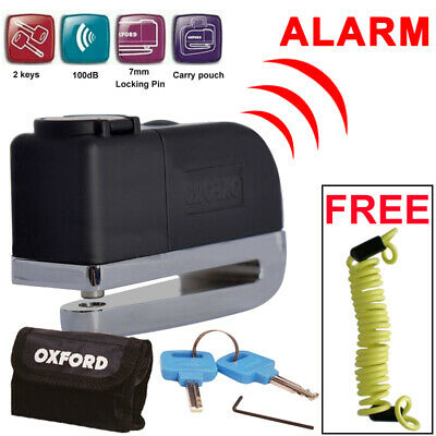 Oxford Screamer Scooter Motorbike Motorcycle Alarm Disc Lock + 1.5m Cable FD518 • 23.99£