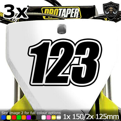 3x Custom Motocross Race Numbers Vinyl Stickers Dirt Bike Trials Decals Race • 4.99£