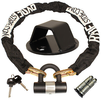 Ryde 1m Heavy Duty Motorcycle Chain & D Lock & Black Steel Wall/ground Anchor • 26.99£