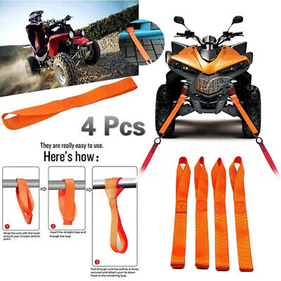 4x Soft Loop Tie Down Straps Ratchet Towing Cargo ATV Motorcycle 600LBS D WS JE • 5.01£