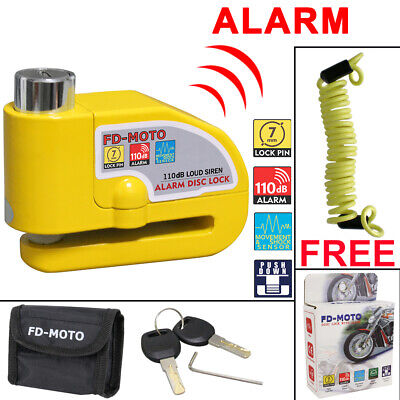 FD-MOTO Alarm Motorbike Disc Lock Brake Scooter Motorcycle Cycle Bike Security • 12.95£