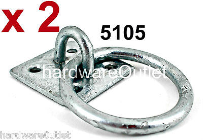2 Galvanized Tie RING ON PLATE Chain Anchor Trailer Dog Wall Floor Home Security • 6.55£