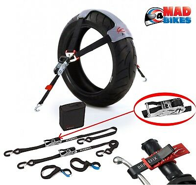 ACEBIKES Complete Motorcycle Motorbike Tie Down System, Ratchet Straps, Tyre Fix • 99.95£