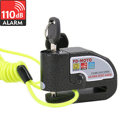 FD-MOTO Motorcycle Motorbike Disc Lock Brake Alarm Lock Black + Reminder Cable • 13.95£