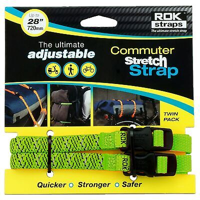 Oxford LD 12mm Adjustable Green Reflective Rok Straps - Motorbike / Luggage • 11.77£