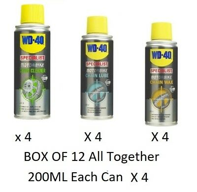 WD40 Wd-40 Motorcycle Chain Wax, Chain Lube , Chain Cleaner 200ml - Box Of 12 • 49.99£