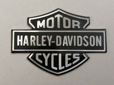 Harley Davidson 3d Metal Badge Sticker Graphic Decal Logo Black Silver Shield • 9.95£