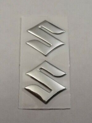 Suzuki 3d Silver Chrome Badge Logo Stickers Graphics Decals Superbike Gsxr Gsr . • 9.95£