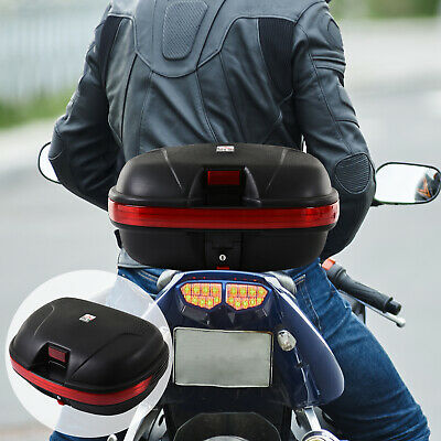 43L Motorcycle Trunk Travel Luggage Storage Box Accessory For 2 Half Helmet • 22.99£