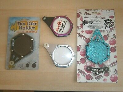 A Job Lot Of 4 Motorcycle Hexagonal Tax Disc Holders  New • 12.99£