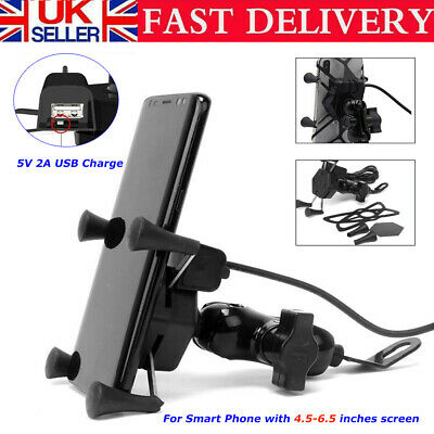 Universal Motorcycle Motorbike Mobile Phone Holder Mount X Grip Clamp USB Charge • 9.99£