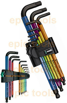 WERA Hex-Plus 9 Piece Multi Colour Ball-End Hex Allen Key Set & Holder, 073593 • 26.95£
