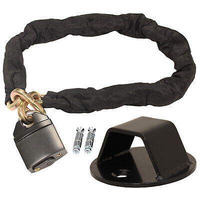 Ryde 1m Heavy Duty Motorcycle Chain Lock & Black Wall/ground Anchor Security • 26.99£