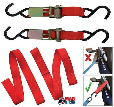 Motorcycle Tie Down Ratchet Strap Set With Easy Loops. Motorbike Quad Pit Bike • 16.99£