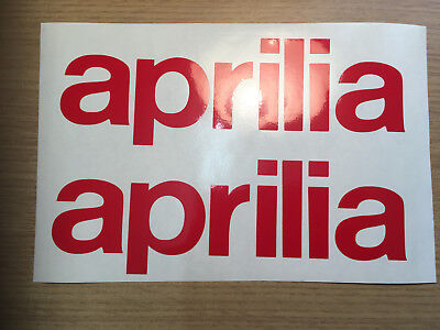 X2 Aprilia Text Graphics Vinyl  Motorcycle Decals Stickers Any Colour. • 3.50£