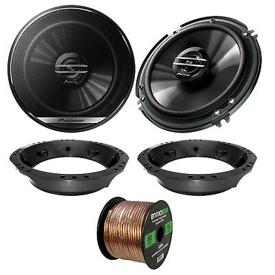 2x Pioneer TS-G1620F 6.5  2-Way Speakers, Adapter, 50 Ft Wire ('98-2013 Harley) • 52.92£