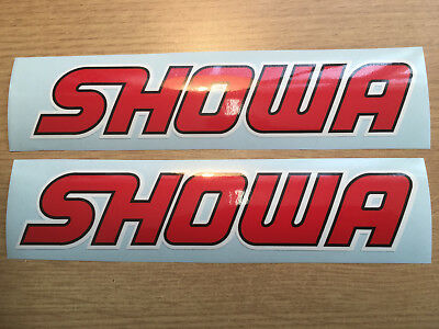 SHOWA UPPER FORK DECALS GRAPHICS BLACK RED WHITE, Quality Non Oem. • 4.50£