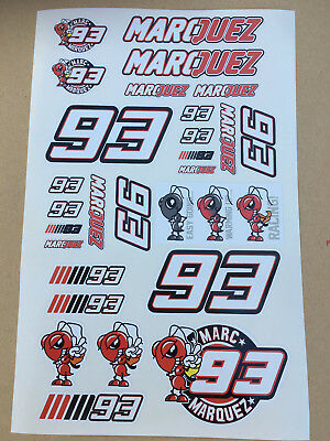 93 Marc Marquez Stickers Set Sheet Of 27 Stickers Motorcycle GP Size 225 X 130mm • 3.75£