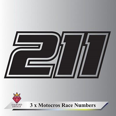 3x Race Numbers Custom Motocross MX Dirt Bike Pit Bike Vinyl Graphics Any Colour • 7.95£