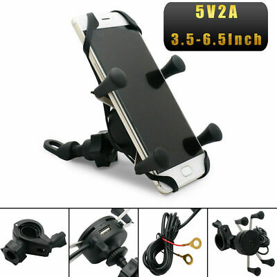 Universal Motorcycle Mobile Phone Holder Motorbike X Grip Clamp Mount USB Charge • 12.99£