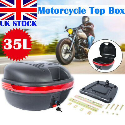 New 35L Universal Motorcycle Top Box Motorbike Scooter Luggage Rear Back Case UK • 19.59£
