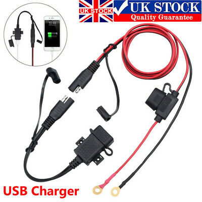 USB Charger For Motorcycle Motorbike SAE To USB Cable Adapter Phone GPS Tablets • 8.58£