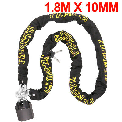 Chain Lock Heavy Duty Bike Motorcycle Motorbike Chain & Pad Lock Security 1.8M • 24.97£