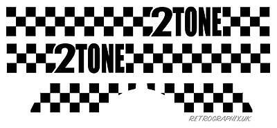 Vespa Stickers 2 Tone Fits Side Panels | PX LML Mod Skinhead Scooter Decal Check • 9.99£