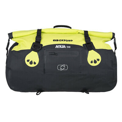 Oxford Aqua T50 Yellow Waterproof Motorcycle Roll Bag Tail Pack Bike Tail Bag • 44.98£