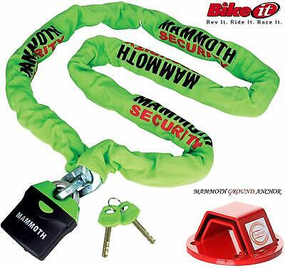Mammoth Locm009 Chain Lock 1.8m + Mammoth Thatcham Ground Anchor • 80£