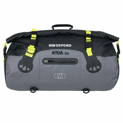 Oxford Aqua T30 Black/Grey/Fluo Waterproof Motorcycle Roll Bag Tail Pack OL461 • 44.95£