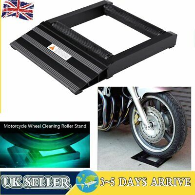 0.4T Motorcycle Wheel Cleaning Stand Maintenance Service Front Tire Roller Ramp • 24.98£