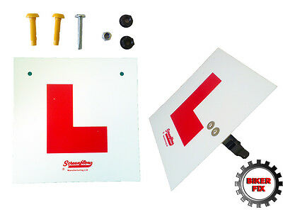 Fork Mounted Learner L Rigid Plate Kit Set Front Rear Pre-Cut Motorcycle Scooter • 7.95£