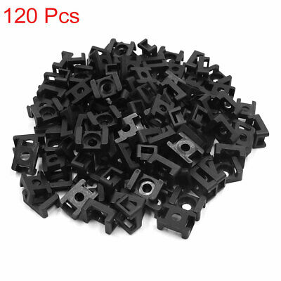 120pcs Black Plastic 9mm Width Saddle Type Wire Cable Tie Screw Mount Holder • 13.81£
