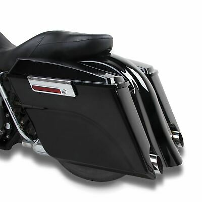Black Extended Stretched Panniers Harley-Davidson Touring Models 00-13 • 272.99£
