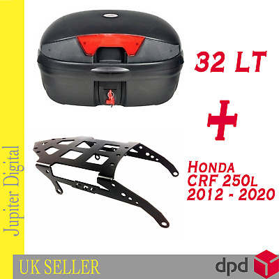 Rear Carrier Rack & 32 Litre Top Case Luggage Fits Honda CRF250L / CRF 250 Rally • 64.99£