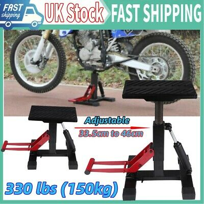 150KG NEW HEAVY DUTY MOTORCYCLE MOTOCROSS IRON FOOT LIFT STAND 33.5CM To 46CM • 49.96£